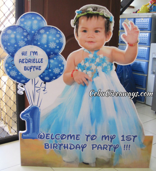 Aedrielle Blythe's Celebrant Welcome Standee (Blue & White)