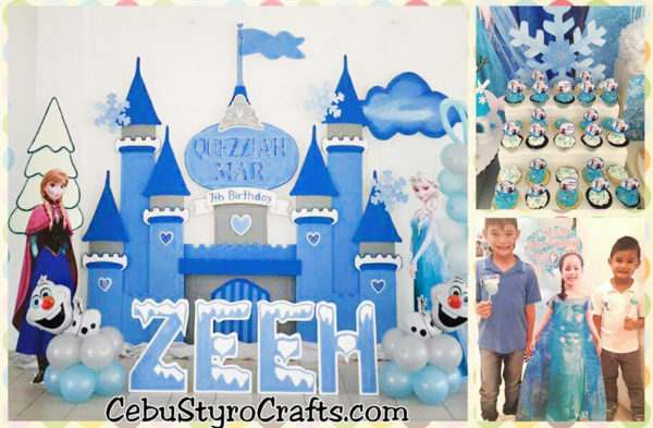 Disney Frozen Backdrop with Snow Flakes and Celebrant Standee