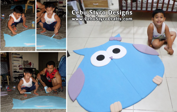Father & Son Bonding in Making (Painting) an Owl from a Styro