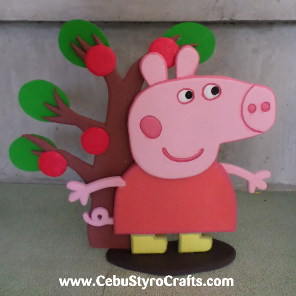 Painted Peppa Pig with Tree Background