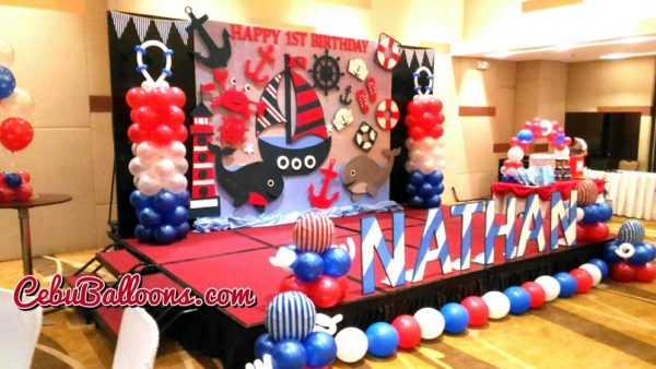 Styro Backdrop with Balloons Package - Nautical Theme