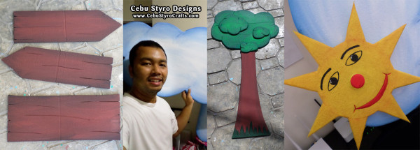 Wood, Sun, Cloud. Tree Styro Crafts